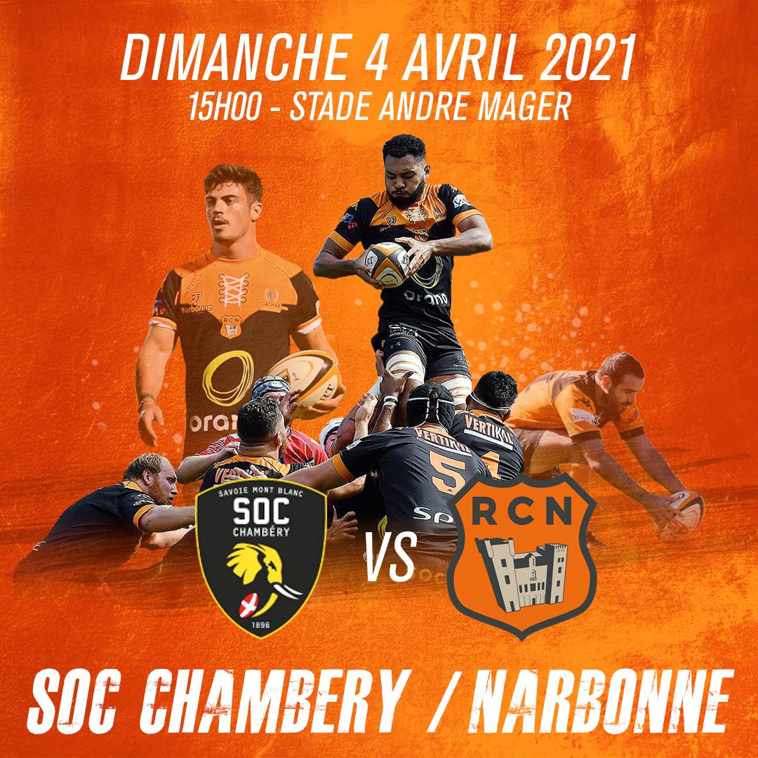Composition d'équipe Chambéry vs RC Narbonnais 04 04 2021